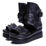 Genuine Leather Women Sandals Platform Shoes High Heels Black SandalsSandle/Boots - Awoken Women