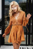 Sexy lace up v neck suede lace dress party backlessDress - Awoken Women