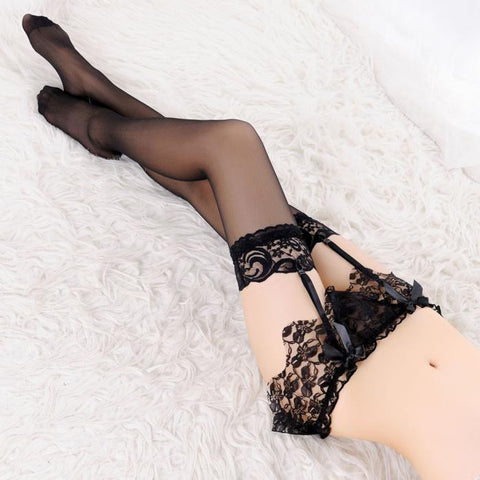Sexy Lace Garter Belt Lingerie Stocking G-string Underwear BKFishnet Stockings - Awoken Women