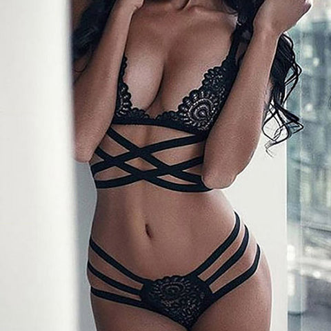 Women Sexy Intersect Strap Lace Briefs Underwear Nightwear LingerieLingerie - Awoken Women
