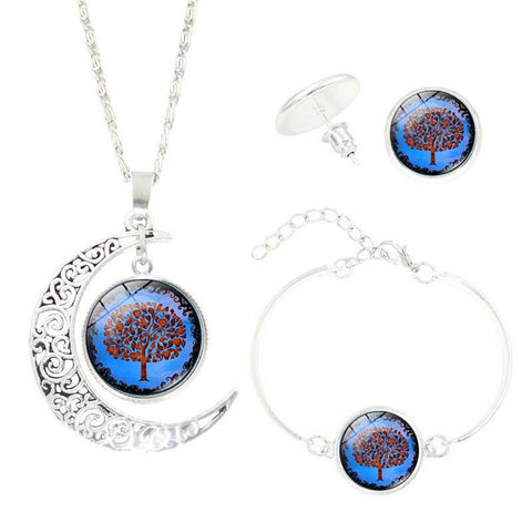 Life Tree Art Picture Pendant Statement Chain Crescent Moon NecklaceJewelry Set - Awoken Women