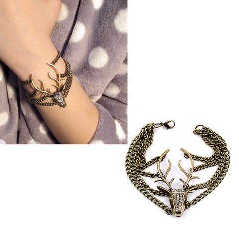 Women Retro Diamond Mysterious Deer Head Multilayer Bracelet JewelryBracelet - Awoken Women