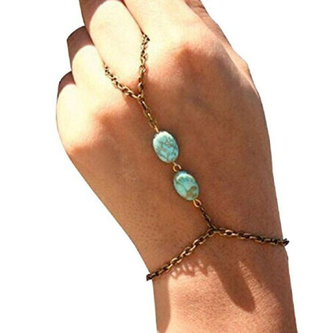Retro Bronze Turquoise Bracelet Finger Ring Bangle ChainBracelet + Ring - Awoken Women