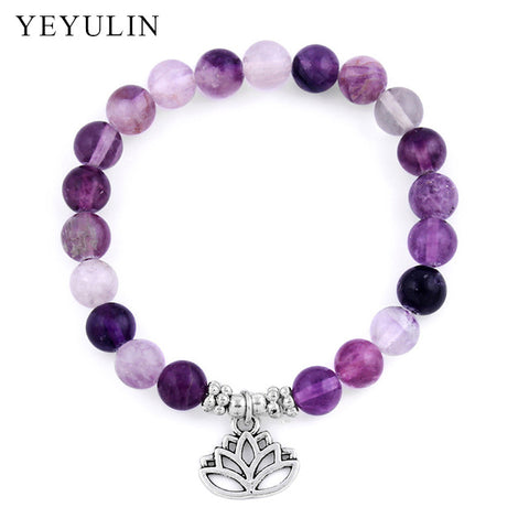 Trendy Natural Stone Bracelet Crystal Beads Lotus Flower ChakraBracelet - Awoken Women