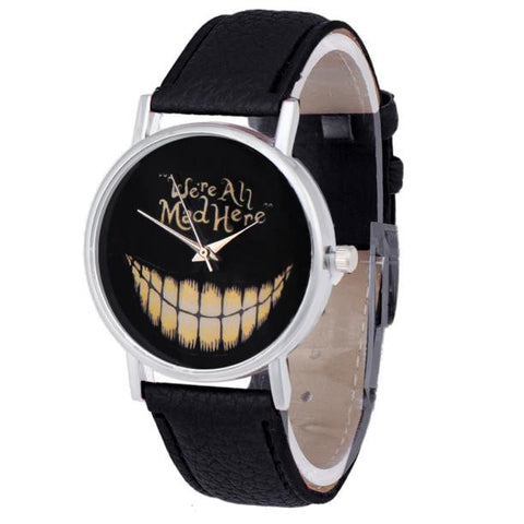Women/Men Leisure Time Faux Leather Analog Smiling Face Wrist WatchWatch - Awoken Women