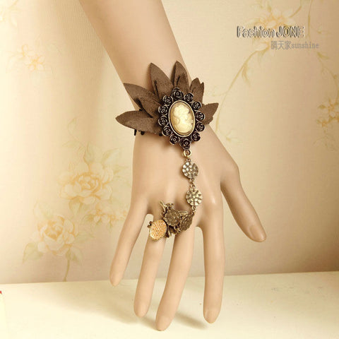 Handmade Floral Queen Lace Adjustable Ring Bracelet Slave SET Gothic LolitaBracelet + Ring - Awoken Women