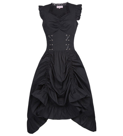 Black/Brown Medieval Renaissance Clothing Corset Steampunk DressDress - Awoken Women
