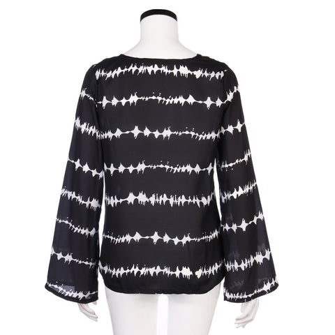 Women Loose Long Sleeve Shirt Stripe Tops Overlapping Chiffon Casual BlouseShirt - Awoken Women
