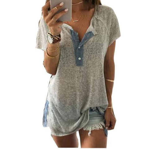 Women Loose Casual Button Blouse T Shirt Tank TopsShirt - Awoken Women