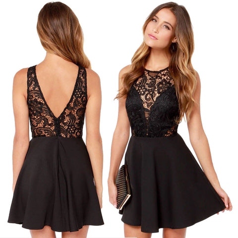 Casual Backless Cocktail Lace Mini DressDress - Awoken Women