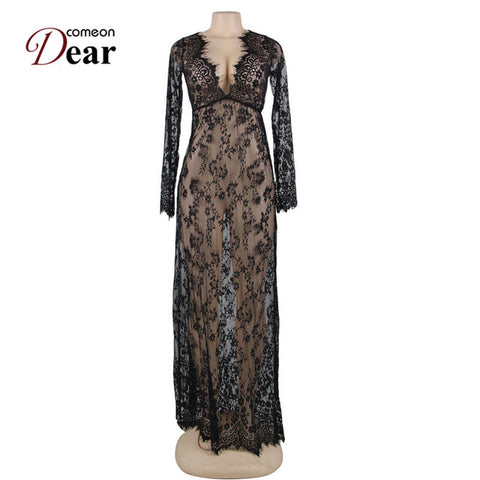 Lace Long Sleepwear Gown See Through Sheer NegligeeLingerie - Awoken Women