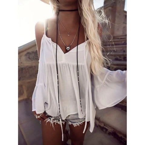 Sexy Off Shoulder Summer Tops Long Sleeve Shirt