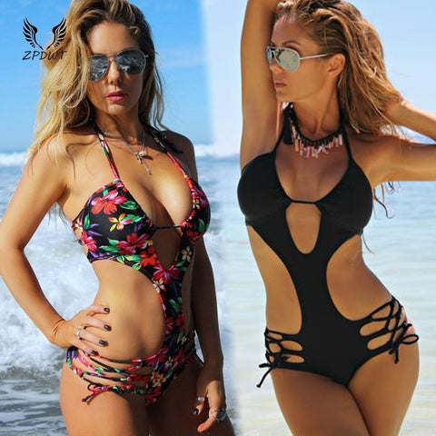 One Piece  Bandage Halter Sexy Thong Swimwear Cut Out