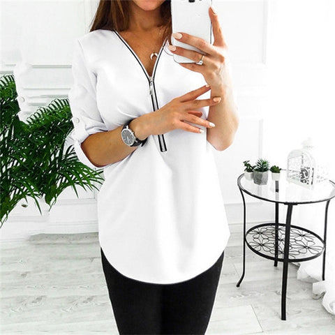 V Collar Zipper Roll Up Long Sleeves Loose Shirt