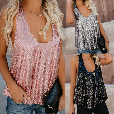 2019 Women Sequin Sleeveless Loose Tank Tops Blouse