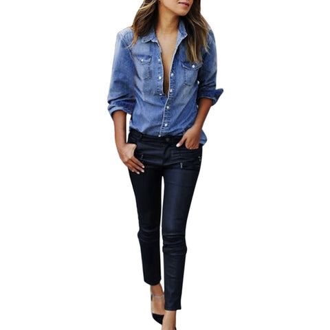 Women Casual Blue Jean Denim Long Sleeve Blouse