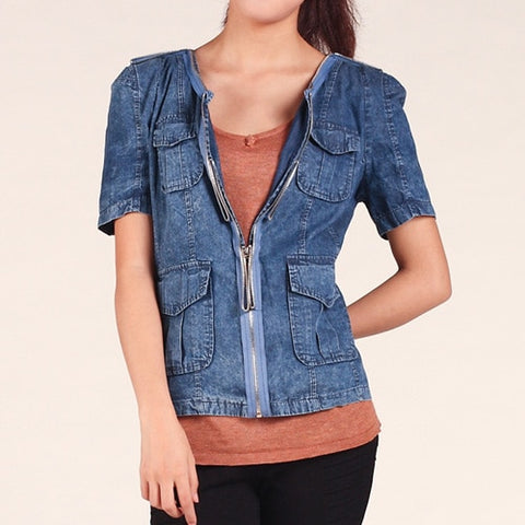 Denim blouse women tops v-neck shirts casual