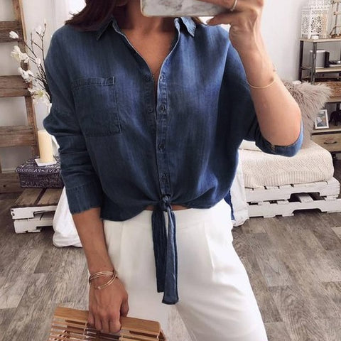 Women Denim Blouse Lapel Long Sleeve Top Casual Down