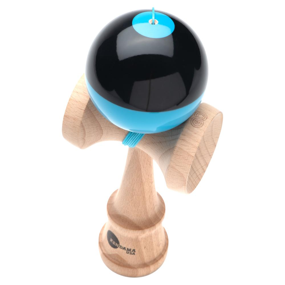Kendama USA Kaizen Shift black/blue half split Kendama angle
