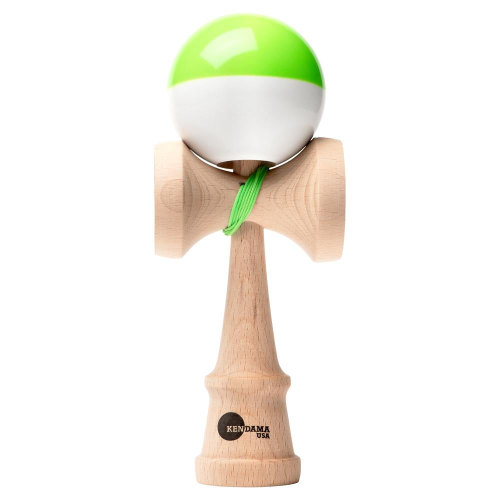 Kendama USA Kaizen Shift green\white half split Kendama