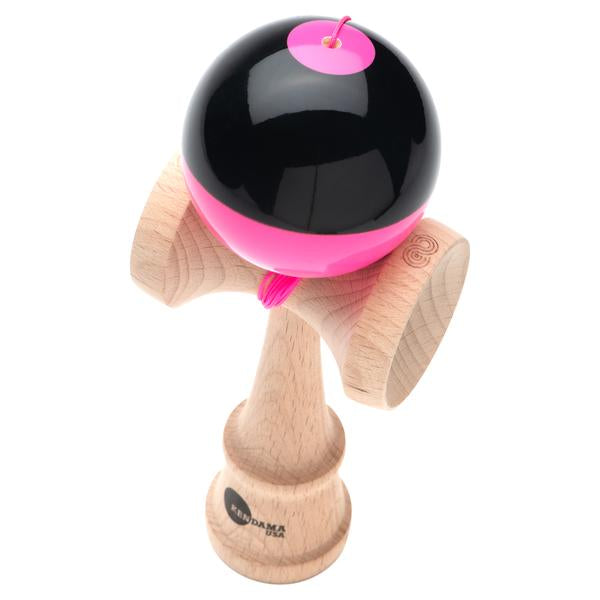 Kendama USA Kaizen Shift red\pink half split Kendama angle