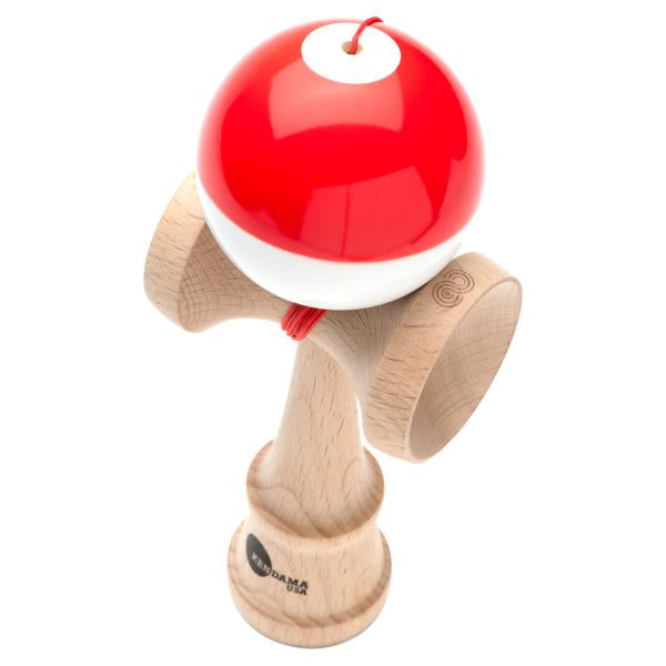 Kendama USA Kaizen Shift red\white half split Kendama angle