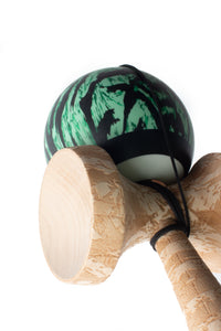 V25 Mint Tigerstripe Cushion Clear Kendama angle