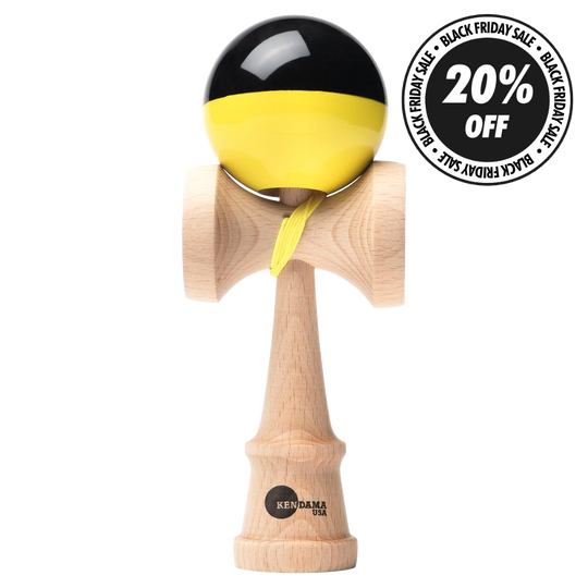 KUSA - KAIZEN SHIFT BLACK/YELLOW HALF SPLIT KENDAMA