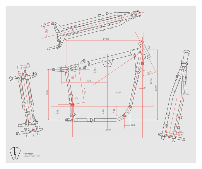 Early Sportster Frame Blueprint