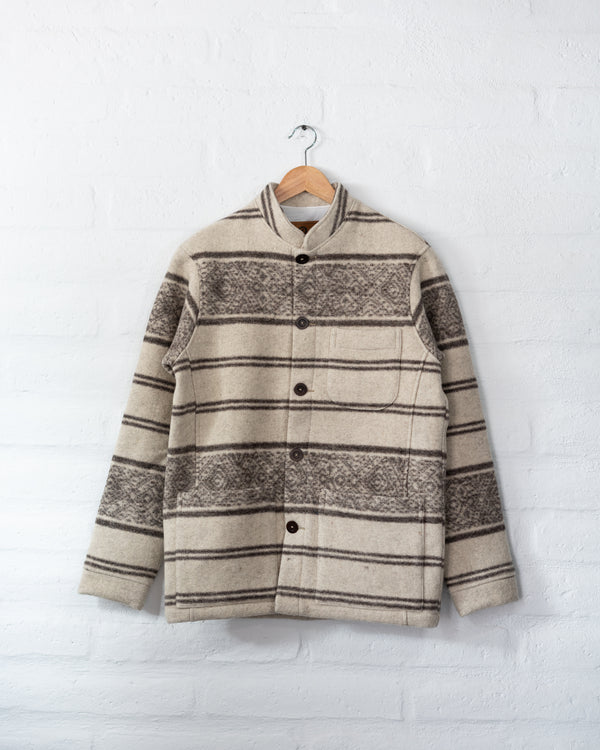 Tambo Wool Jacket Andes Pattern - White