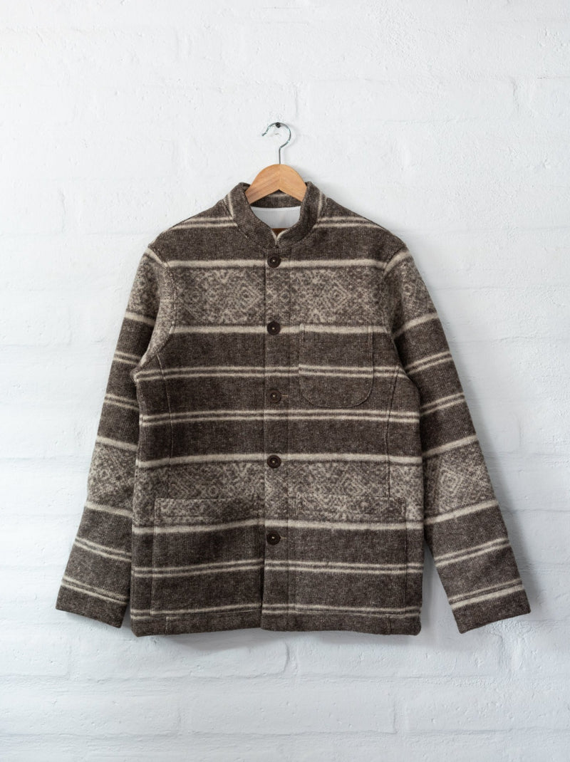 Tambo Wool Jacket in Gray Andes Pattern