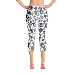 Black & White Patern Capri Leggings