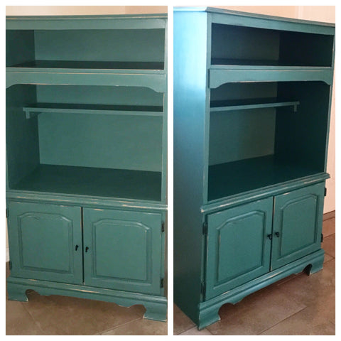 before and after solid wood cabinet stand refurbished upcycle redone