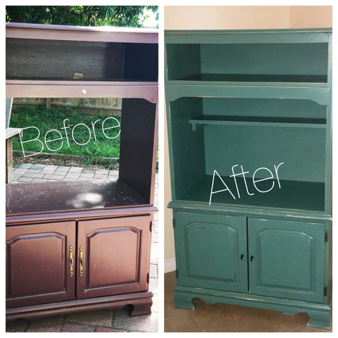 Before and After Solid Wood Cabinet Stand Refurbished Redone Upcycling