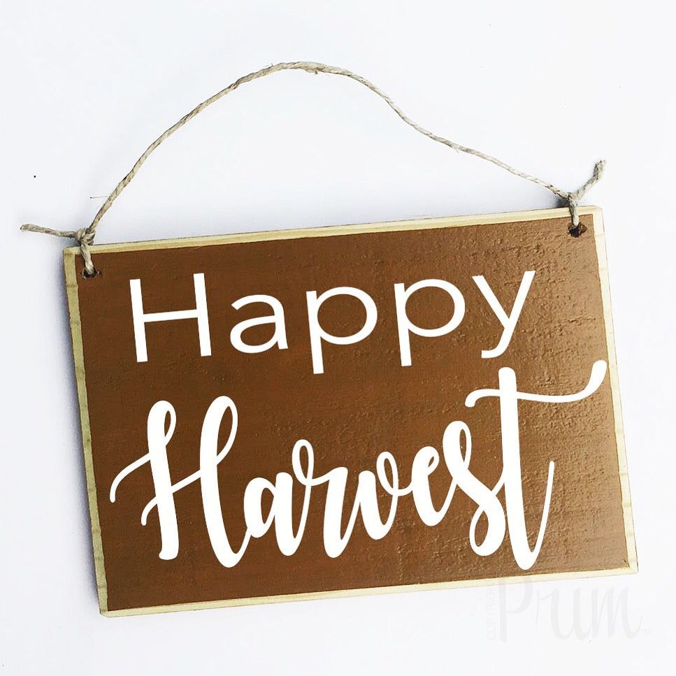Happy Harvest Custom Fall Autumn Welcome Door Wood Sign