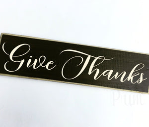Give Thanks Custom Wood Autumn Fall Harvest Sign