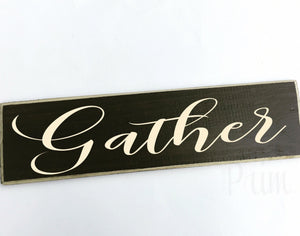 Gather Custom Wood Fall Autumn Harvest Family Sign