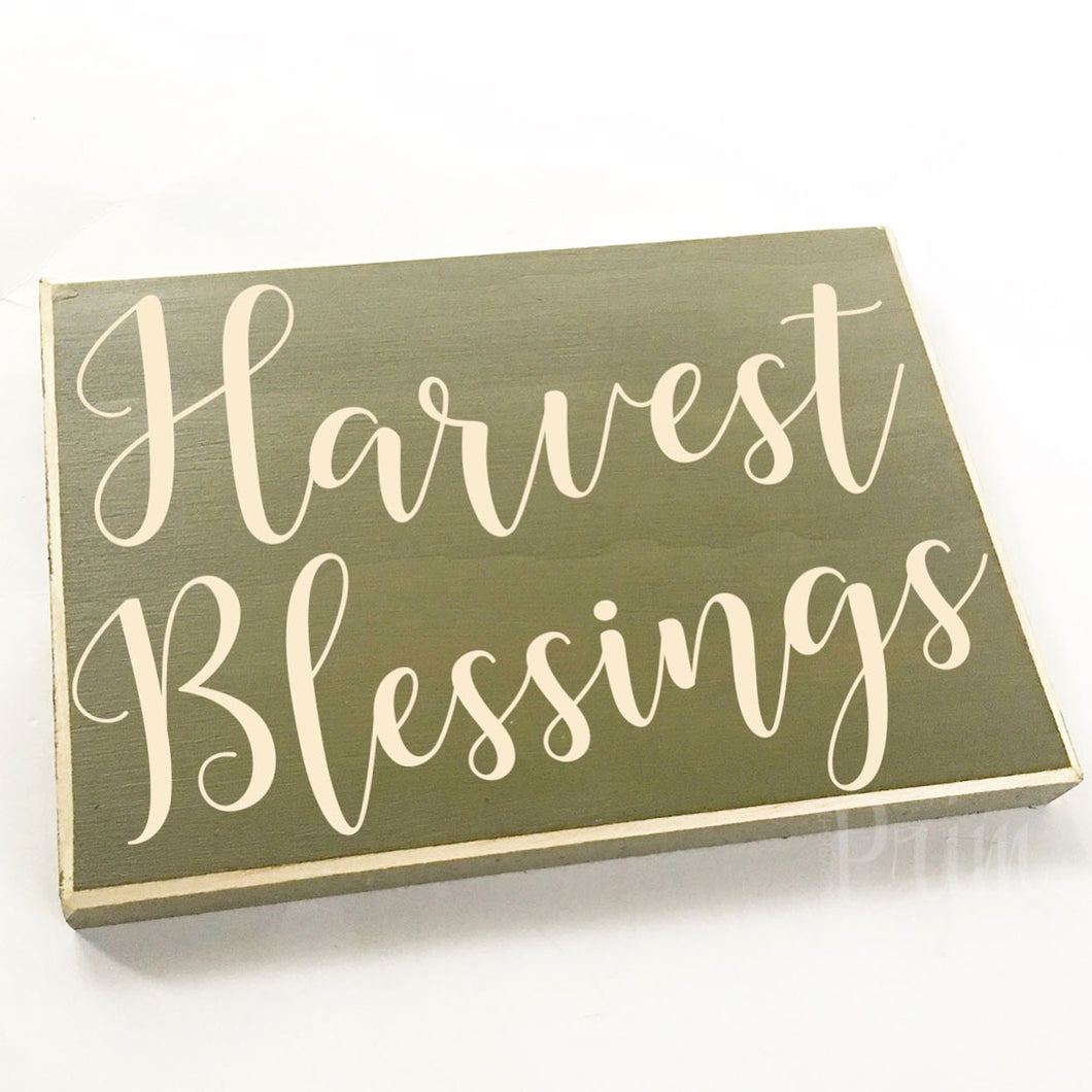 Harvest Blessings Custom Wood Family Fall Autumn Sign