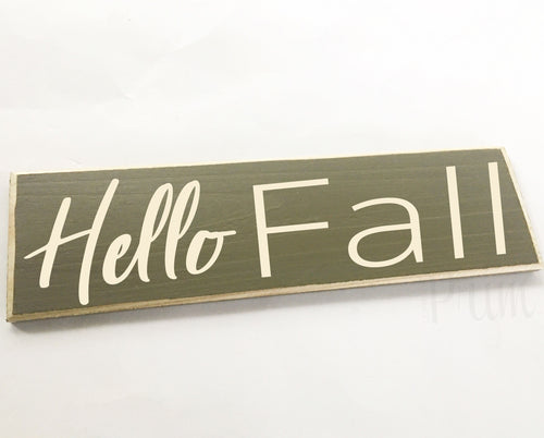 Hello Fall Custom Wood Harvest Pumpkin Autumn Sign
