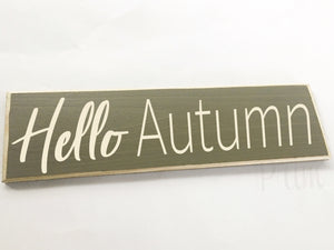 Hello Autumn Custom Wood Fall Pumpkin Harvest Sign