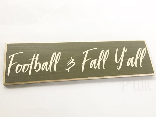 Football and Fall Y'al' Custom Wood Autumn Harvest Family Sign
