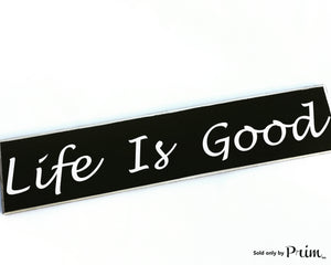 Handmade LIFE IS GOOD Custom wood sign Happiness Blessed Thankfully This is The Life Plaque