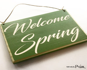 8x6 Welcome Spring (Choose Color) Custom Holiday Bunny Rabbit Season Summer Flowers April Spring Time Wood Door Sign