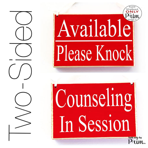 Designs by Prim 8x6 Two Sided Available Please Knock Counseling In Session Custom Wood Sign Counselor Do Not Disturb Progress Therapy Meeting Door Plaque