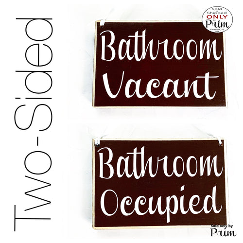 8x6 Bathroom Vacant Bathroom Occupied Custom Wood Sign Restroom Loo Clinic Spa Salon Office Welcome Two-Sided Available In Use Door Plaque