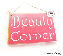 Load image into Gallery viewer, 8x6 Beauty Corner Custom Wood Sign Powder Room Makeup Artist Studio Facial Glam Squad Hair Stylist Eyebrow Lashes Spa Salon Door Plaque