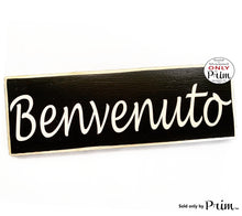 Load image into Gallery viewer, 14x6 Benvenuto Custom Wood Sign Italian Italy Chao Welcome Greetings Wall Above Door Plaque