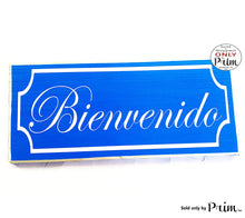 Load image into Gallery viewer, 12x6 Bienvenido Spanish Welcome Border Custom Wood Sign | Entrance Home Come In Home Sweet Home Front Door Porch Entryway Wall Decor Plaque