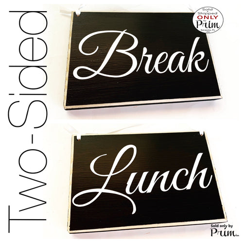 Lunch Break Two Sided 8x6 Out of Office Sorry We Missed You Welcome Come On In Custom Wood Sign Open Closed Spa Salon Office Door Hanger