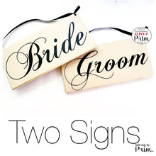 Load image into Gallery viewer, 10x6 Bride Groom HIS HERS Two signs (Choose Color) Custom Wedding Just Married Yours Mine Love Welcome Wedding Plaque Wood Signs (Set of 2)